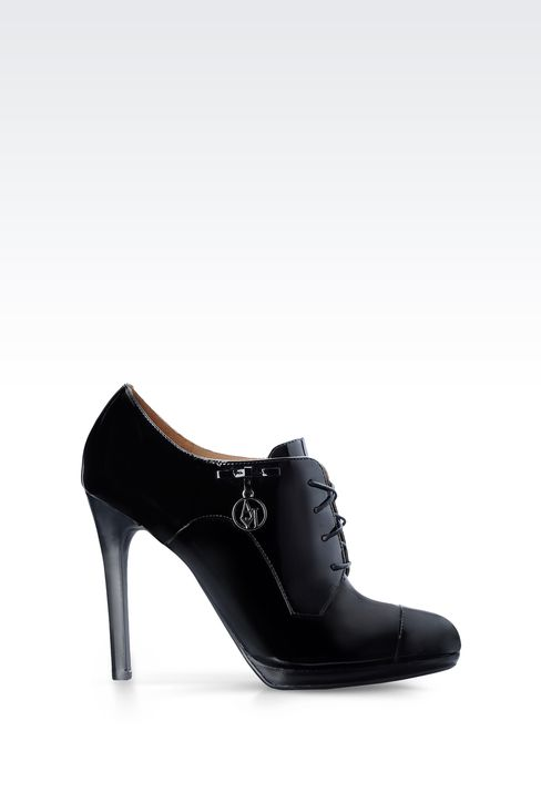 PATENT LEATHER ANKLE BOOTS WITH PENDANT : Lace-up shoes Women by Armani - 1