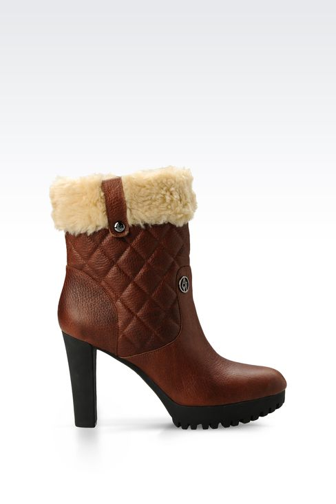 ECO FUR AND NUBUCK LEATHER ANKLE BOOTS: Ankle boots Women by Armani - 1