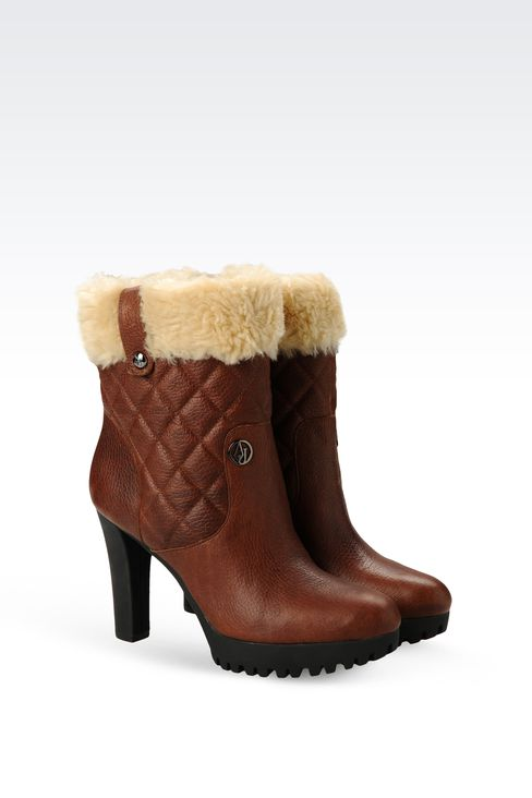 ECO FUR AND NUBUCK LEATHER ANKLE BOOTS: Ankle boots Women by Armani - 2