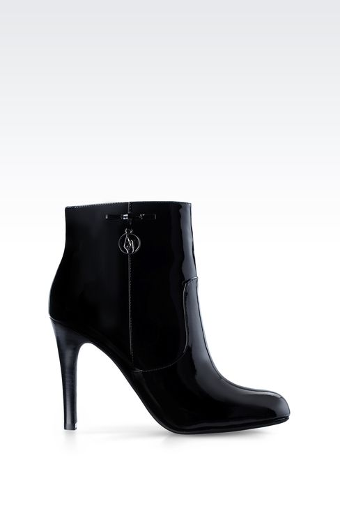 PATENT LEATHER ANKLE BOOTS WITH PENDANT: Ankle boots Women by Armani - 1