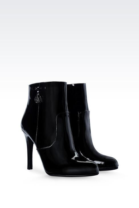 PATENT LEATHER ANKLE BOOTS WITH PENDANT: Ankle boots Women by Armani - 2