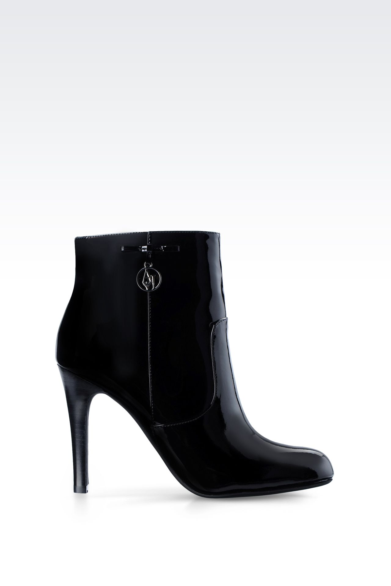 PATENT LEATHER ANKLE BOOTS WITH PENDANT: Ankle boots Women by Armani - 0