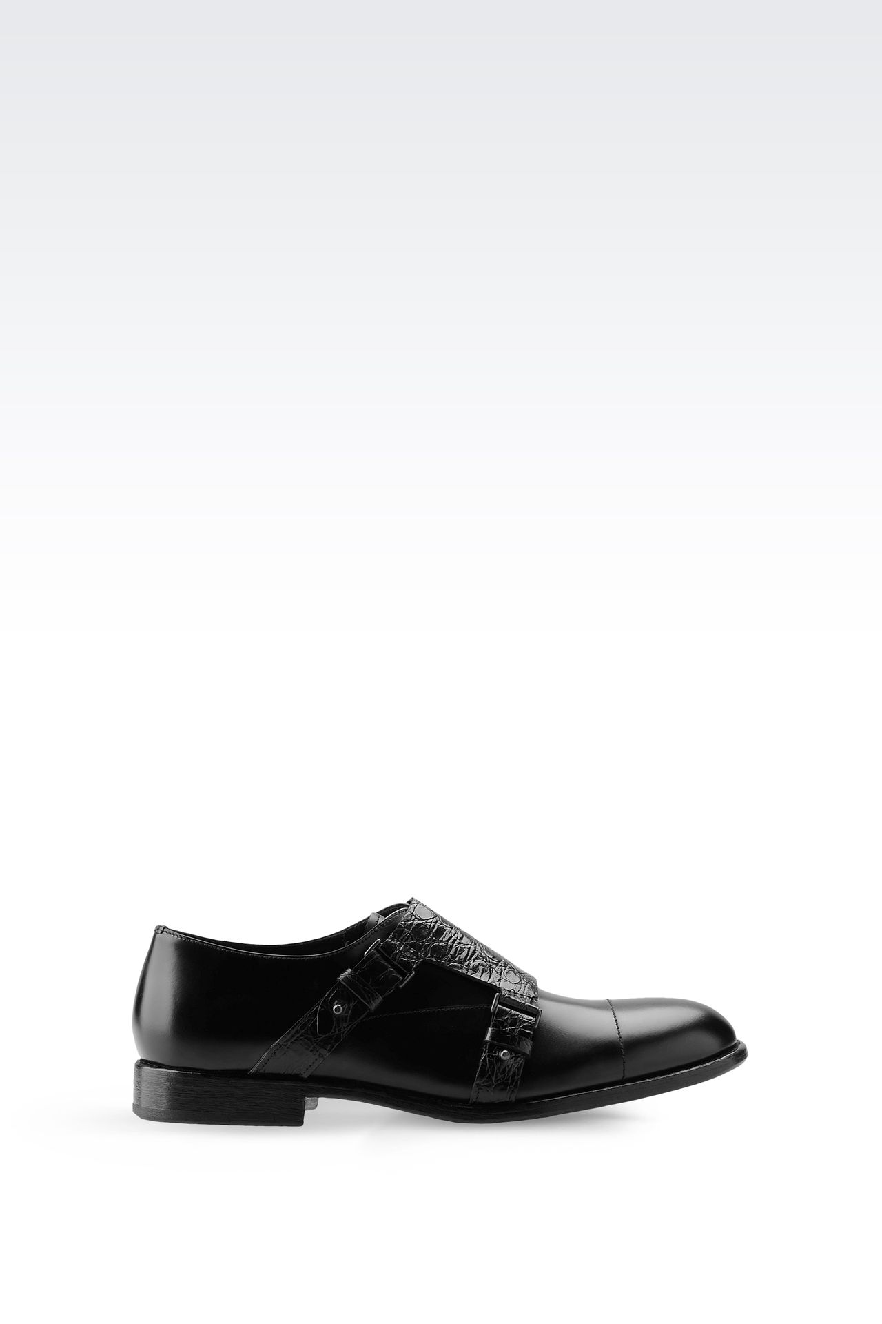 MONKSTRAP WITH CROC PRINT DETAILING: Moccasins Men by Armani - 0
