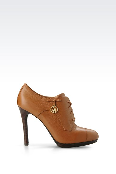 LEATHER ANKLE BOOTS WITH PENDANT: Lace-up shoes Women by Armani - 1