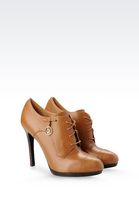 LEATHER ANKLE BOOTS WITH PENDANT: Lace-up shoes Women by Armani - 2