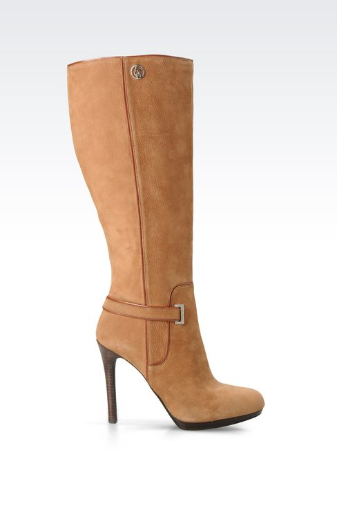 DRUMMED NUBUCK LEATHER BOOTS WITH HEEL : High-heeled boots Women by Armani - 1