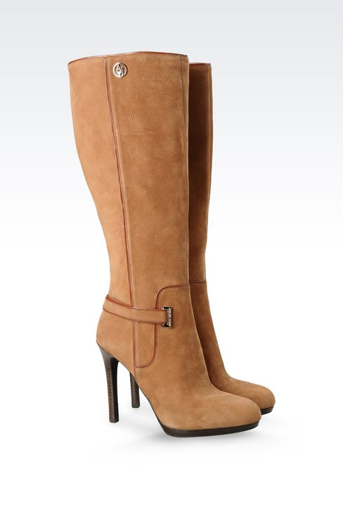DRUMMED NUBUCK LEATHER BOOTS WITH HEEL : High-heeled boots Women by Armani - 2