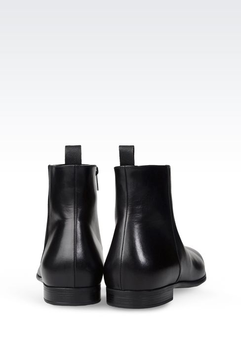 LEATHER ANKLE BOOT WITH ZIPPER: Ankle boots Men by Armani - 3