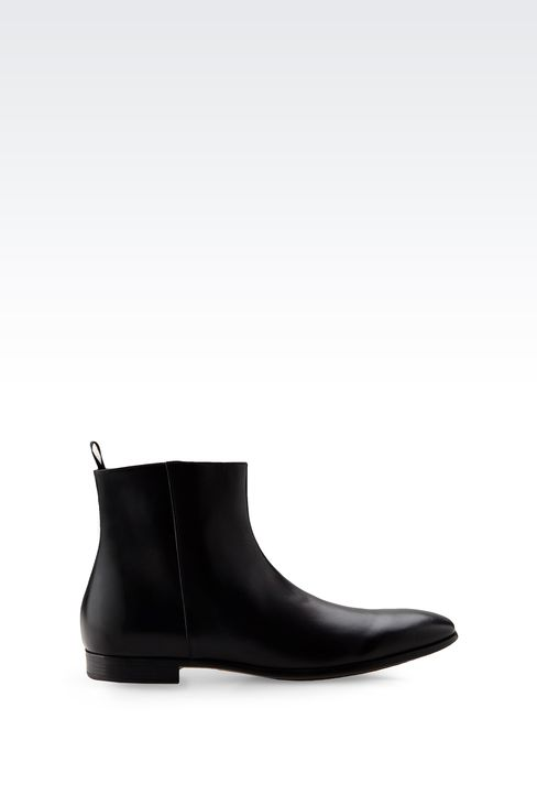 LEATHER ANKLE BOOT WITH ZIPPER: Ankle boots Men by Armani - 1