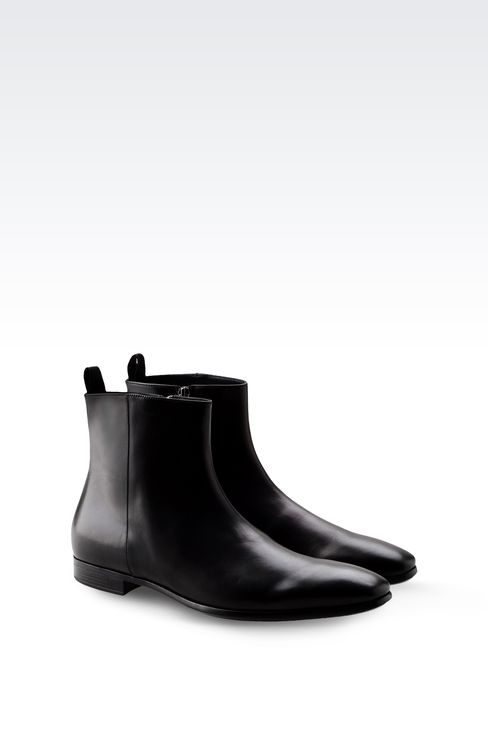 LEATHER ANKLE BOOT WITH ZIPPER: Ankle boots Men by Armani - 2
