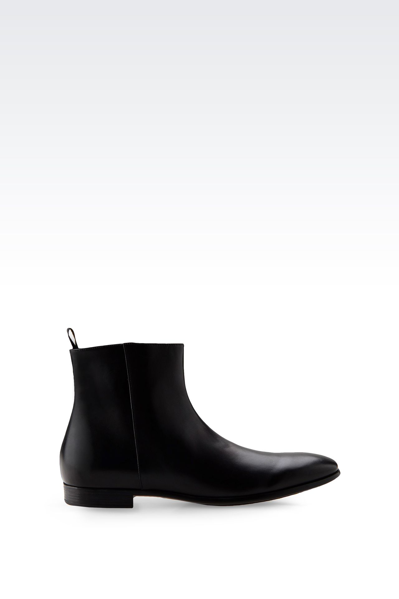 LEATHER ANKLE BOOT WITH ZIPPER: Ankle boots Men by Armani - 0