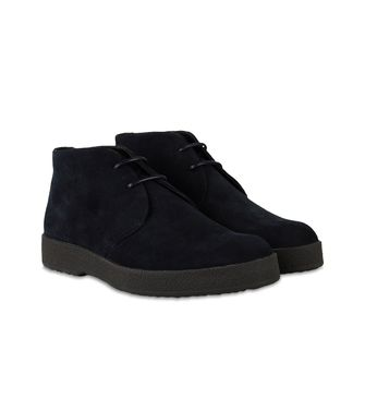 ERMENEGILDO ZEGNA: Laced Ankle Boot Blue - Steel grey - 44558725CK