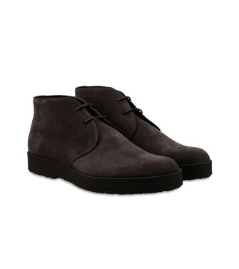 ERMENEGILDO ZEGNA: Laced Ankle Boot Black - Maroon - 44558725QC
