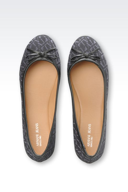 ALL OVER LOGO JACQUARD BALLERINAS: Ballet flats Women by Armani - 3