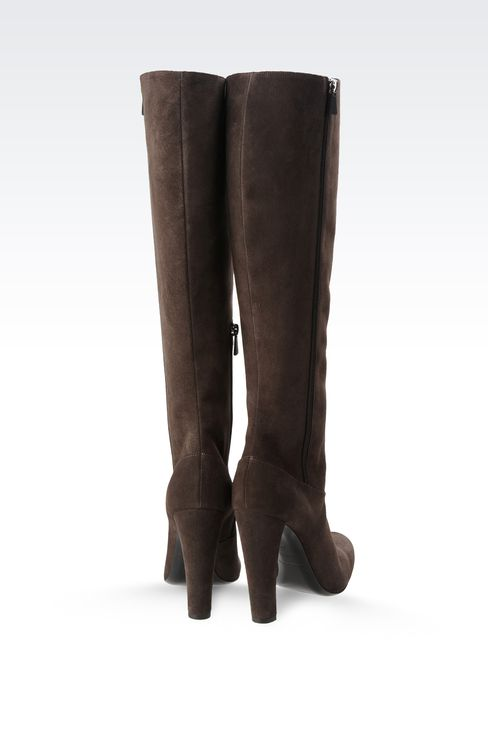 SUEDE BOOT WITH ZIPPER: High-heeled boots Women by Armani - 3