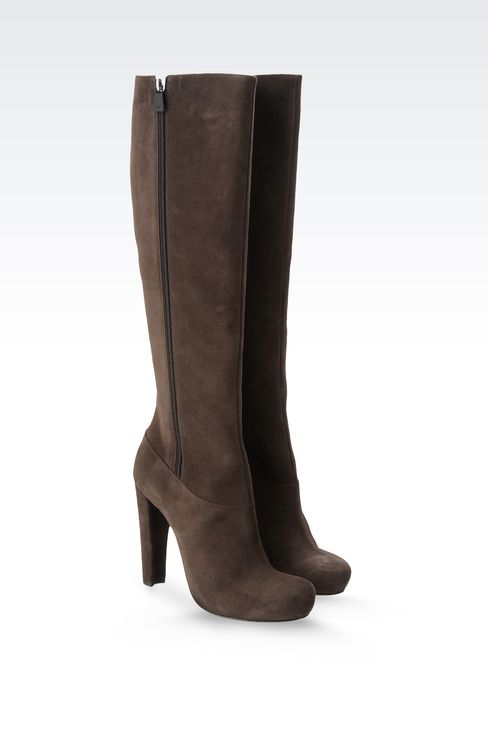 SUEDE BOOT WITH ZIPPER: High-heeled boots Women by Armani - 2