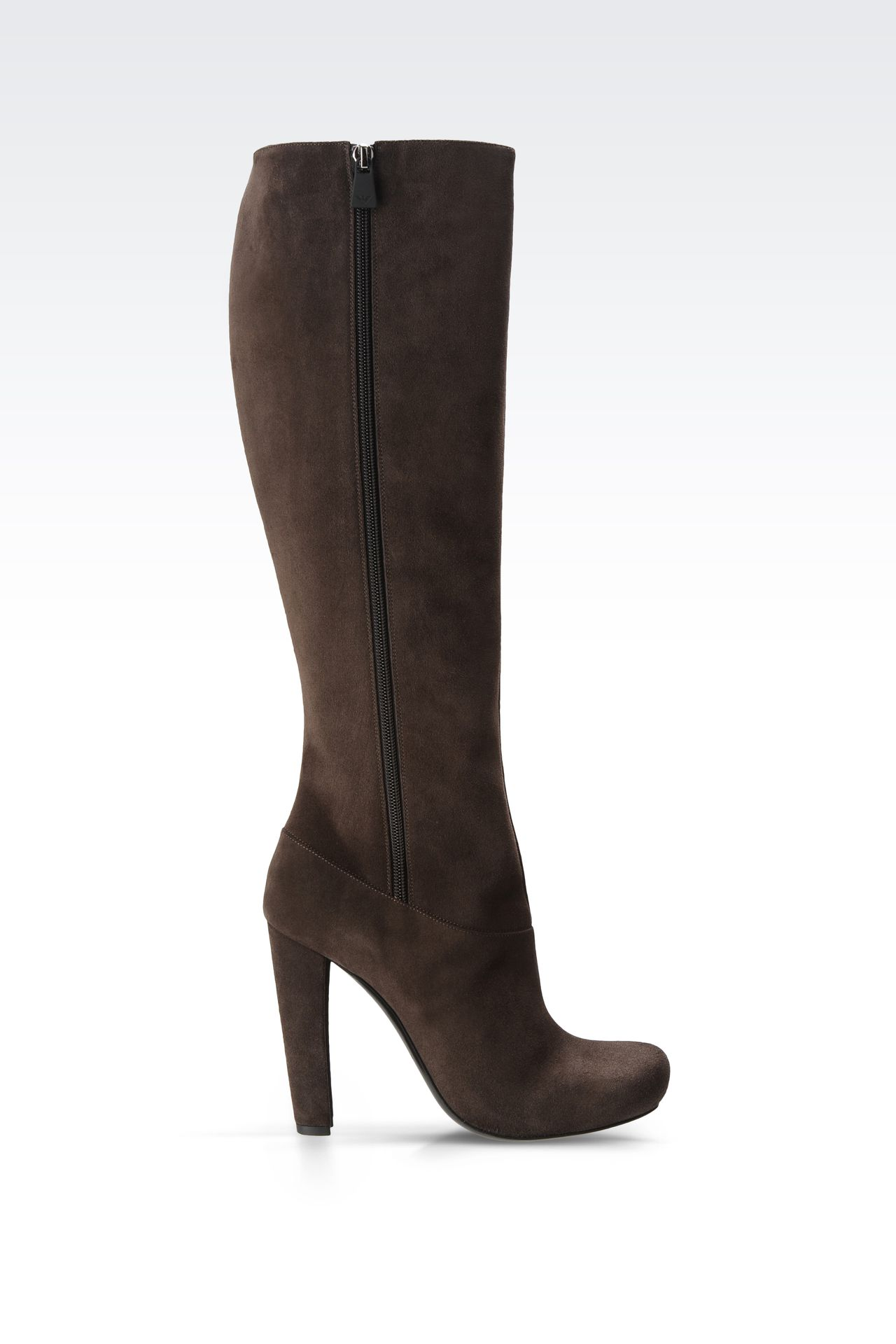 SUEDE BOOT WITH ZIPPER: High-heeled boots Women by Armani - 0