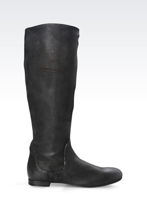 LEATHER BOOT WITH PRINTED LOGO: Ankle boots Women by Armani - 1