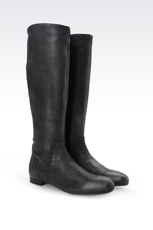 LEATHER BOOT WITH PRINTED LOGO: Ankle boots Women by Armani - 2