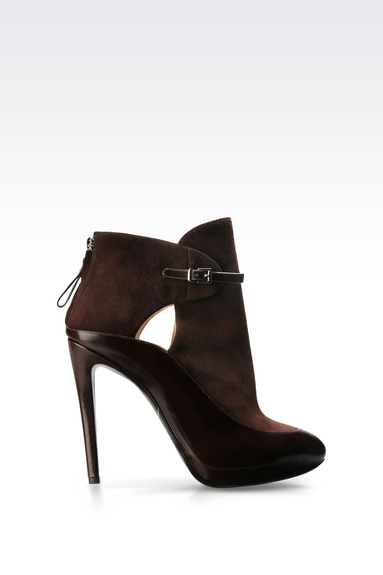 LEATHER ANKLE BOOT WITH ZIPPER: Ankle boots Women by Armani - 0
