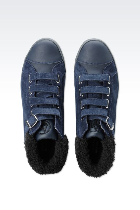 SUEDE AND ECO FUR SNEAKERS: High-top sneakers Women by Armani - 3