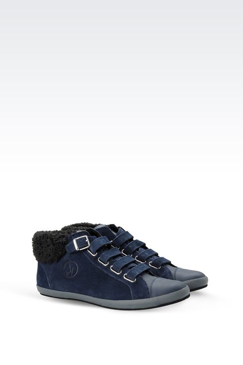 SUEDE AND ECO FUR SNEAKERS: High-top sneakers Women by Armani - 2
