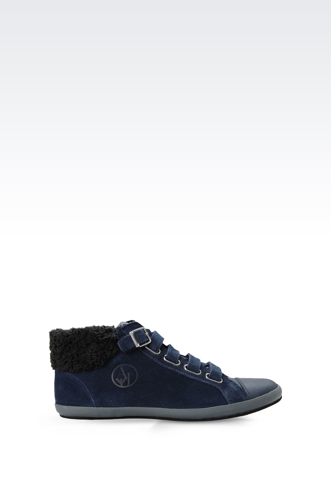 SUEDE AND ECO FUR SNEAKERS: High-top sneakers Women by Armani - 0