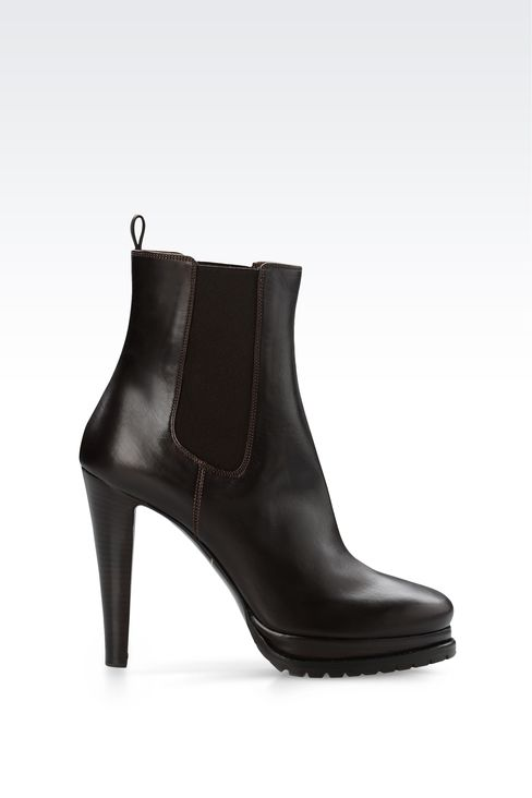 LEATHER HALF BOOT WITH LUG SOLE: Ankle boots Women by Armani - 1