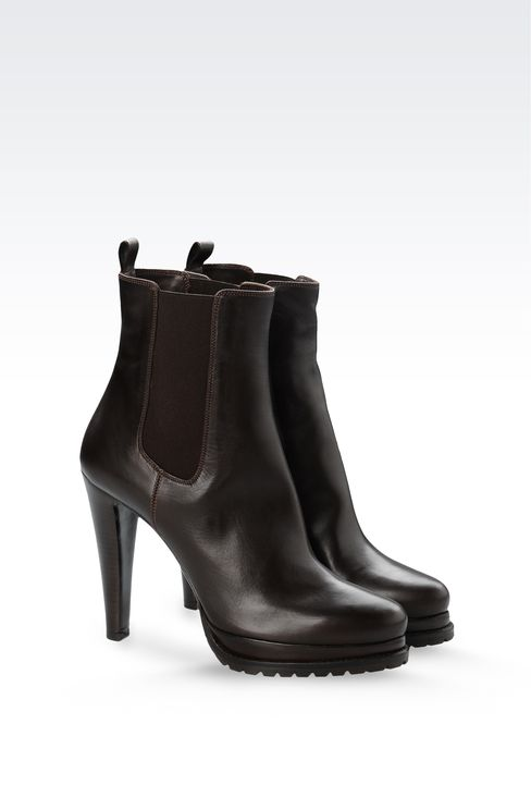 LEATHER HALF BOOT WITH LUG SOLE: Ankle boots Women by Armani - 2