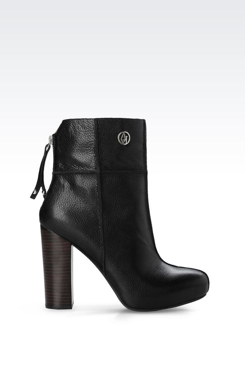 LEATHER ANKLE BOOTS WITH ZIP: Ankle boots Women by Armani - 1