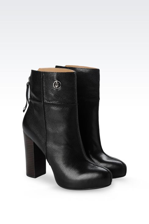 LEATHER ANKLE BOOTS WITH ZIP: Ankle boots Women by Armani - 2