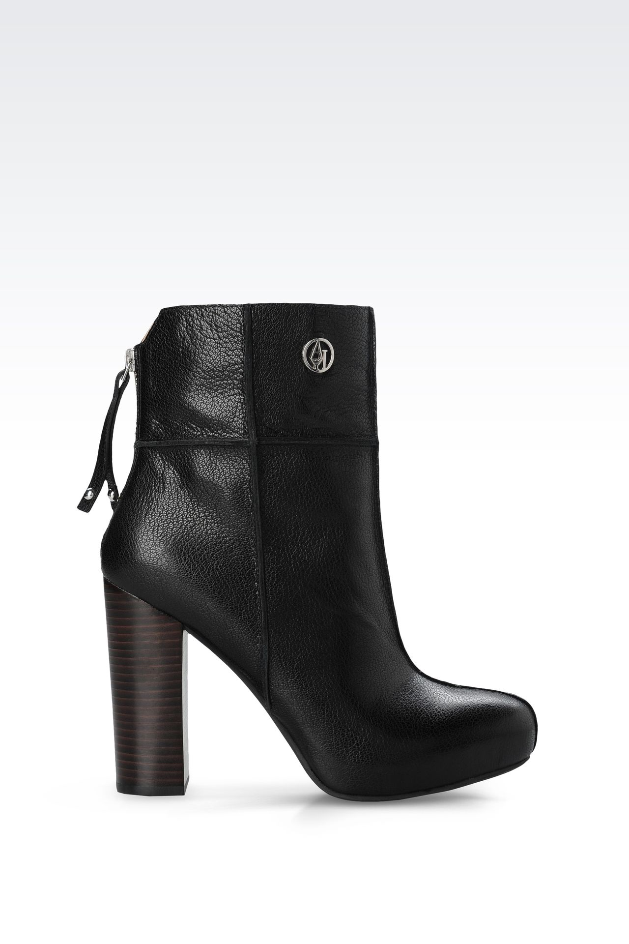 LEATHER ANKLE BOOTS WITH ZIP: Ankle boots Women by Armani - 0