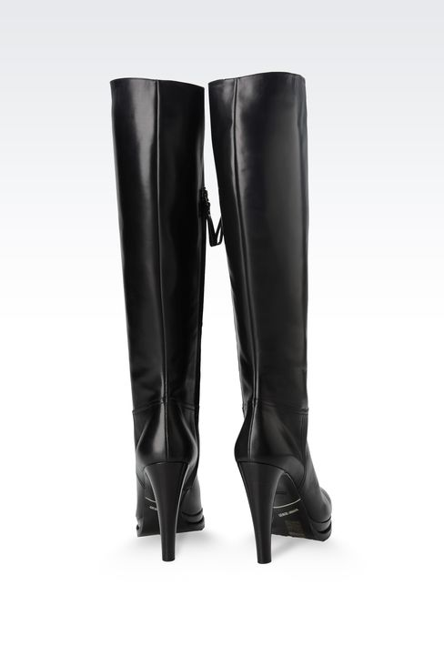 LEATHER BOOT WITH LUG SOLE: High-heeled boots Women by Armani - 3
