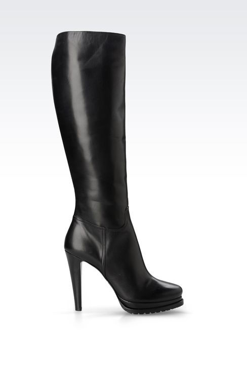 LEATHER BOOT WITH LUG SOLE: High-heeled boots Women by Armani - 1