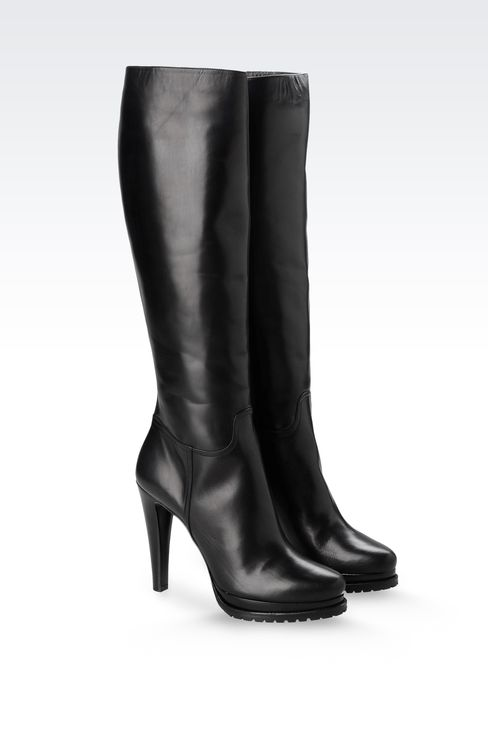 LEATHER BOOT WITH LUG SOLE: High-heeled boots Women by Armani - 2