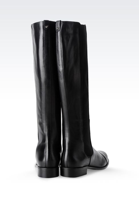 LEATHER BOOT WITH ELASTIC: High-heeled boots Women by Armani - 3