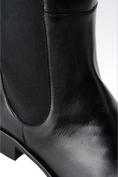 LEATHER BOOT WITH ELASTIC: High-heeled boots Women by Armani - 4