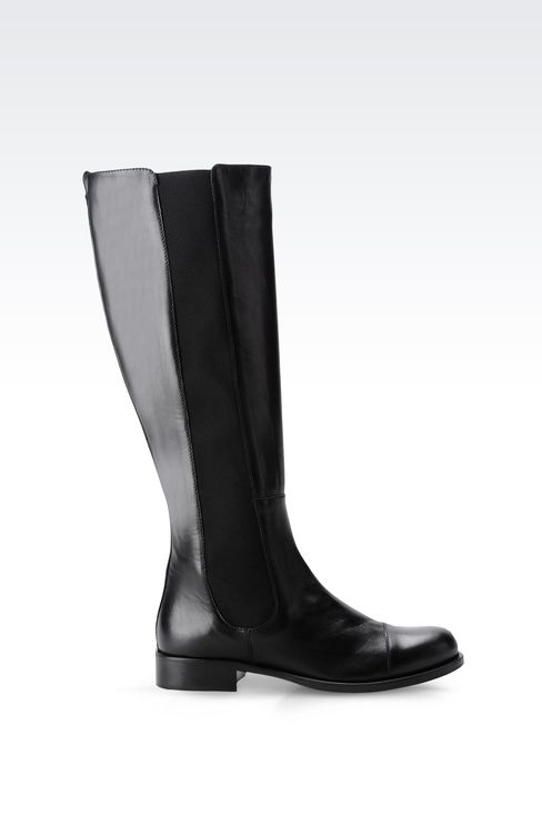 LEATHER BOOT WITH ELASTIC: High-heeled boots Women by Armani - 1