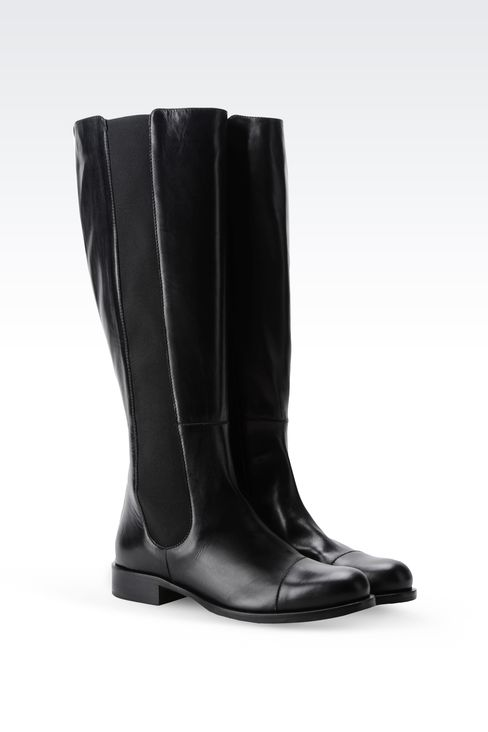 LEATHER BOOT WITH ELASTIC: High-heeled boots Women by Armani - 2