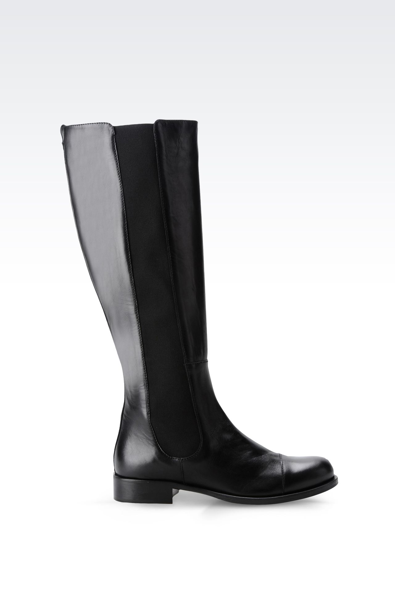LEATHER BOOT WITH ELASTIC: High-heeled boots Women by Armani - 0
