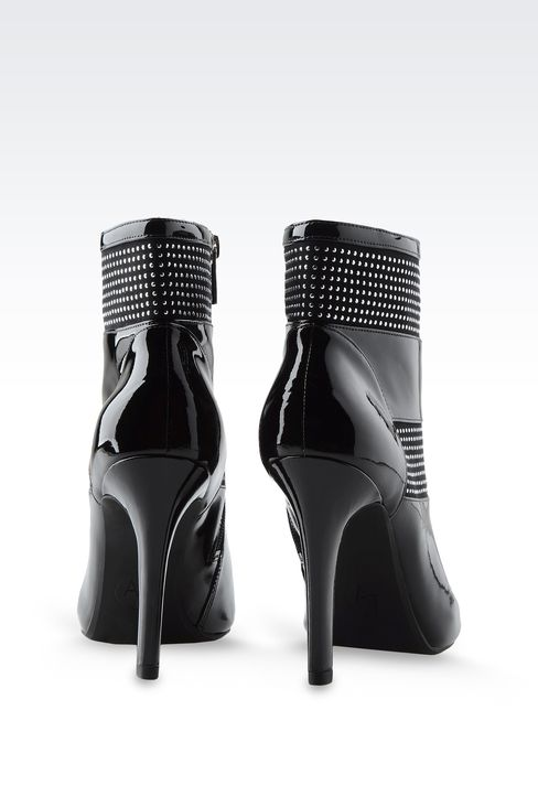 PATENT LEATHER ANKLE BOOTS WITH STUDS: Ankle boots Women by Armani - 3