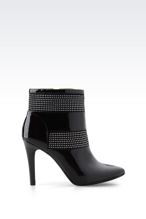 PATENT LEATHER ANKLE BOOTS WITH STUDS: Ankle boots Women by Armani - 1