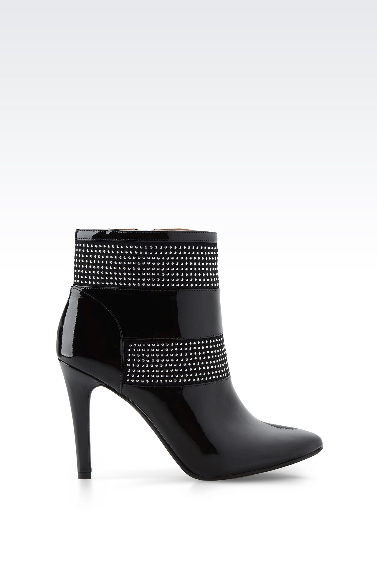 PATENT LEATHER ANKLE BOOTS WITH STUDS: Ankle boots Women by Armani - 0