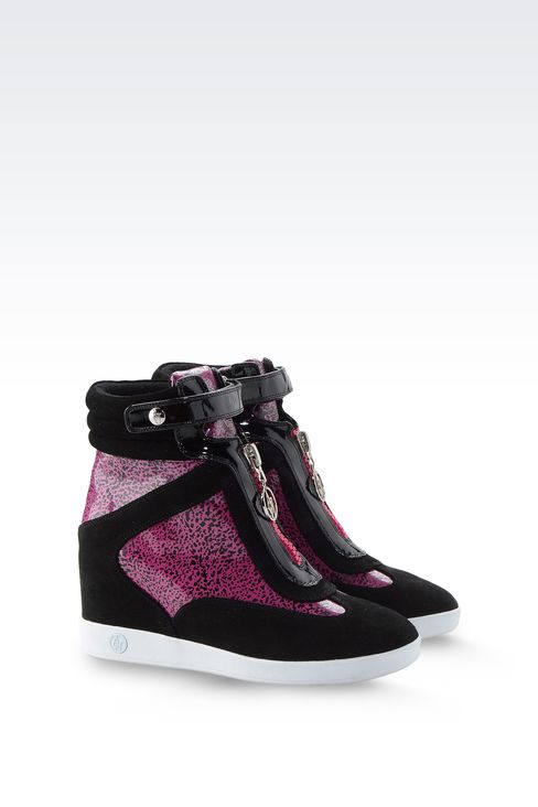 POP PRINT HIGH TOP SNEAKERS WITH WEDGE: Wedges Women by Armani - 2