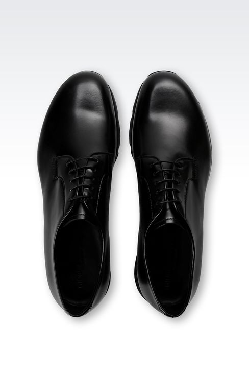 LEATHER DERBY WITH HIGH RUBBER SOLE: Lace-up shoes Men by Armani - 3