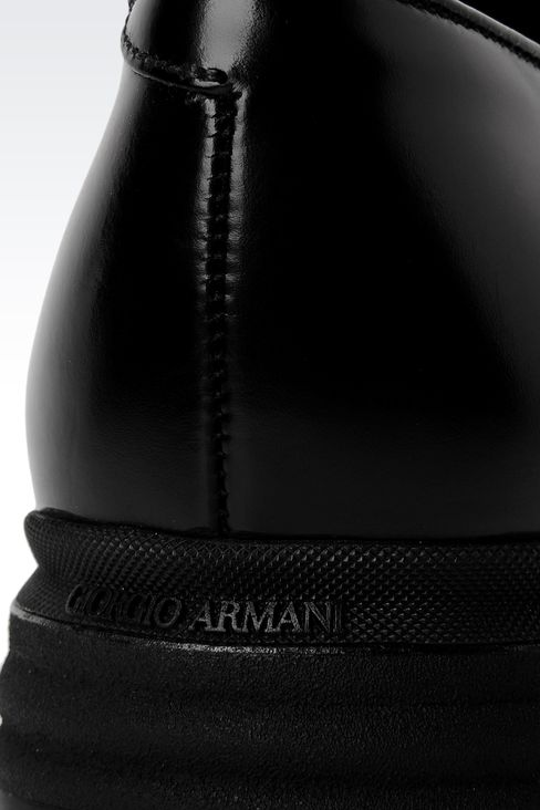 LEATHER DERBY WITH HIGH RUBBER SOLE: Lace-up shoes Men by Armani - 4