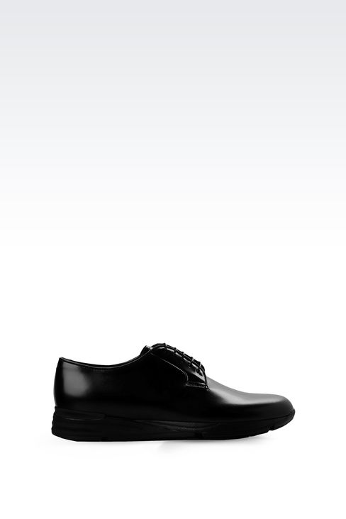 LEATHER DERBY WITH HIGH RUBBER SOLE: Lace-up shoes Men by Armani - 1