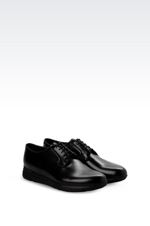 LEATHER DERBY WITH HIGH RUBBER SOLE: Lace-up shoes Men by Armani - 2