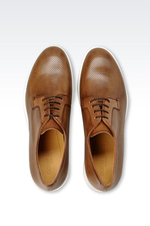 DERBY IN MICRO PERFORATED LEATHER: Lace-up shoes Men by Armani - 3