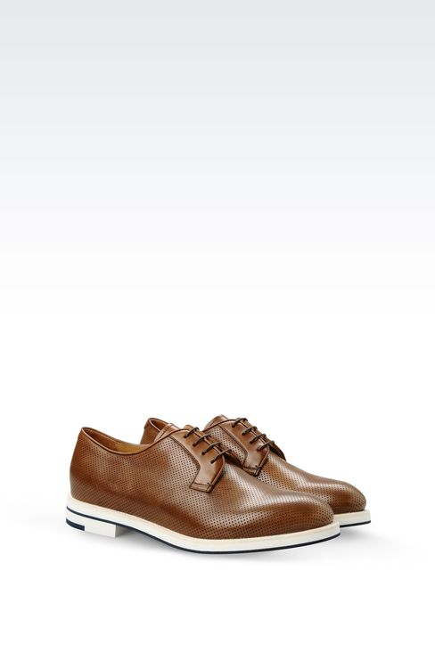 DERBY IN MICRO PERFORATED LEATHER: Lace-up shoes Men by Armani - 2